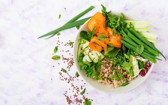 Oat porridge and fresh vegetables
