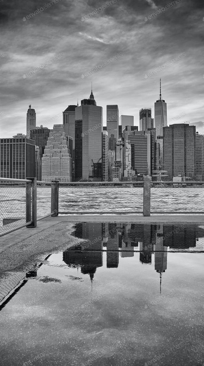 Manhattan skyline reflected in a puddle, New York City.