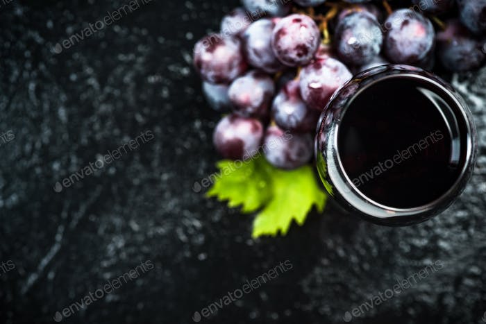 Glass with fine red wine