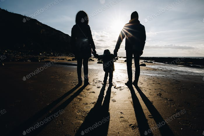 Silhouette of a family on a beach holding hands together