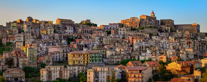 Panoramic view of Castiglione di Sicilia village houses and church, Sicily