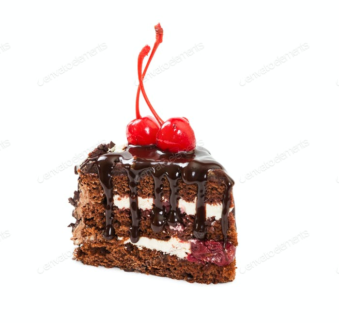 Piece of chocolate cherry cake
