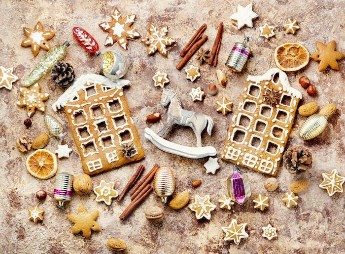 Homemade christmas gingerbread house