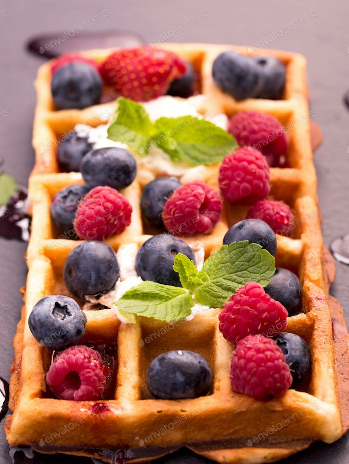 Waffles with blueberry and raspberry