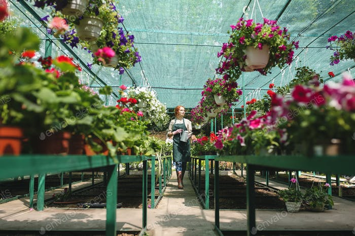Young florist in apron standing with watering can in hands around beautiful flowers