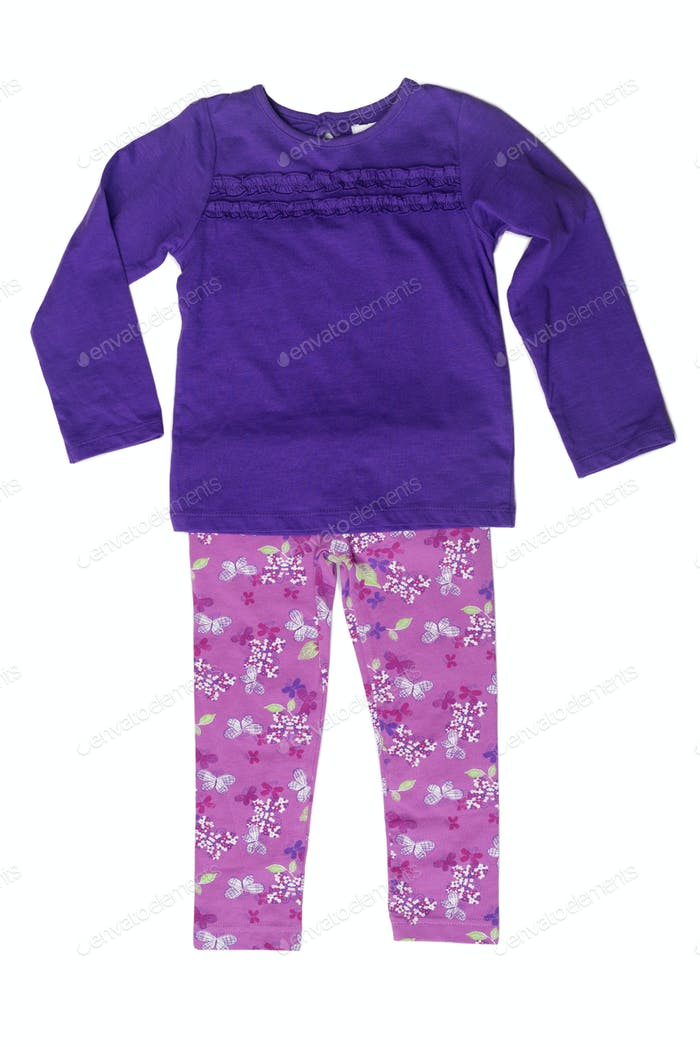 Children's clothing, purple sweater and pink pants.
