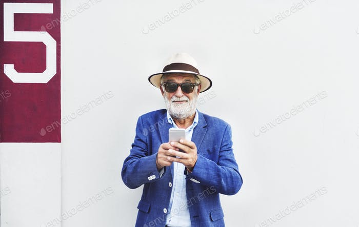 Senior Man Mobile Phone Communication Connection Technology Conc
