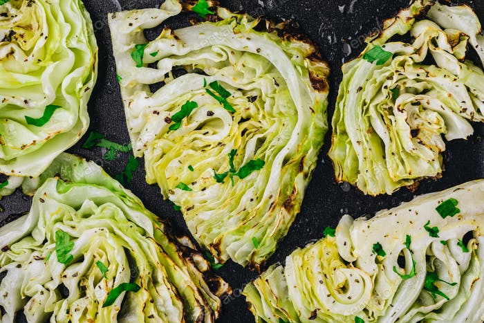 Baked or grilled white cabbage pieces