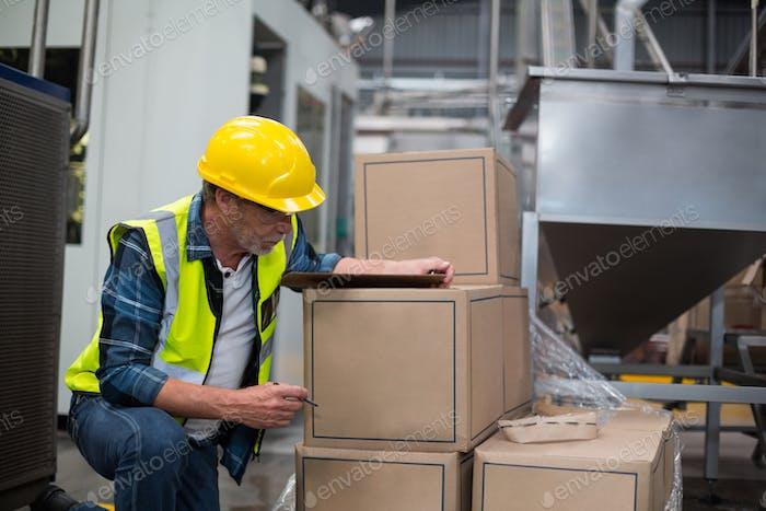 Männliche Fabrikarbeiter Zählen Kartons