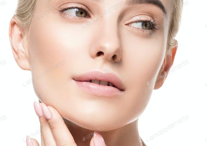 Belleza de la piel de la mujer cara sana piel femenina cuidado retrato