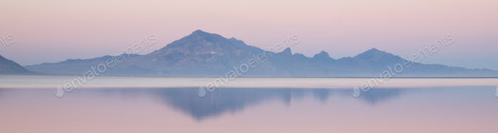 Bonneville Salt Flats Graham Peak Sunset Mountain Range Snow Mirage