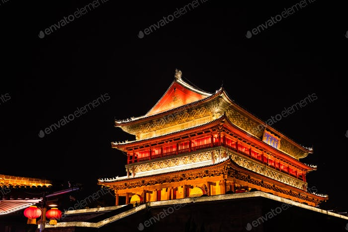 Xian Bell Tower lit at night