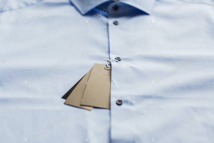 close up of shirt with price tag
