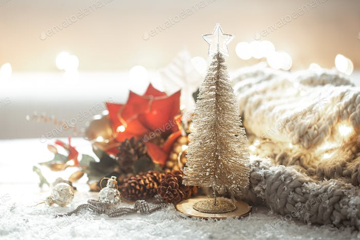 Christmas background with details of festive decor on a blurred background.