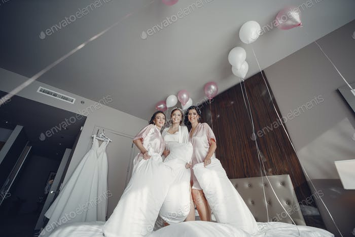 Bride with bridesmaid