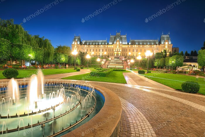 The Palace of Culture edifice in Iasi, Romania.