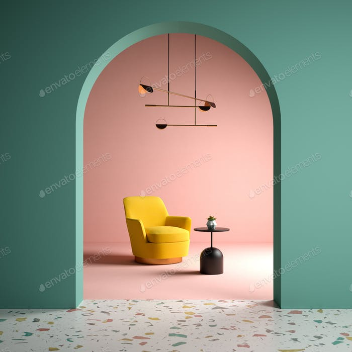 Memphis style conceptual interior room 3d illustration