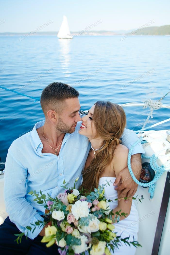 Amorous newlyweds