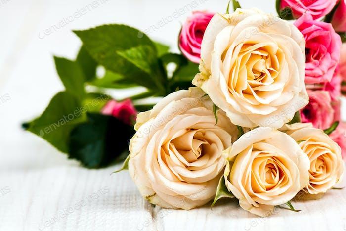 roses on white wooden planks background. flowers