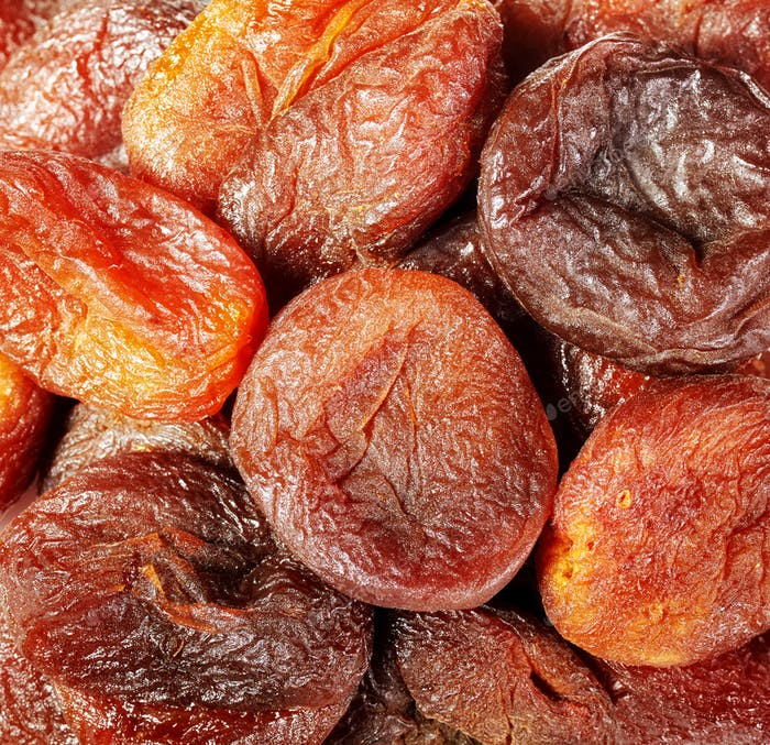 Close up picture of dried organic apricots.
