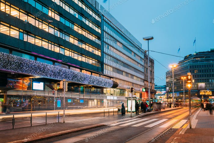 Helsinki, Finland. Shopping Center In New Year Lights Christmas