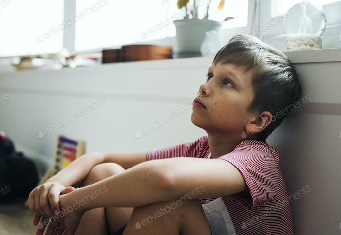 Young boy with depression