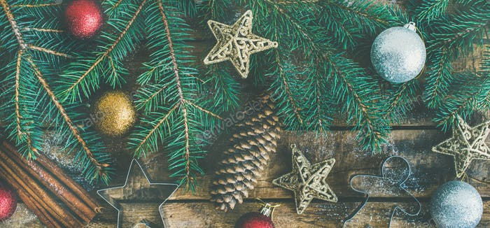 Christmas or New Year holiday flat-lay over wooden background