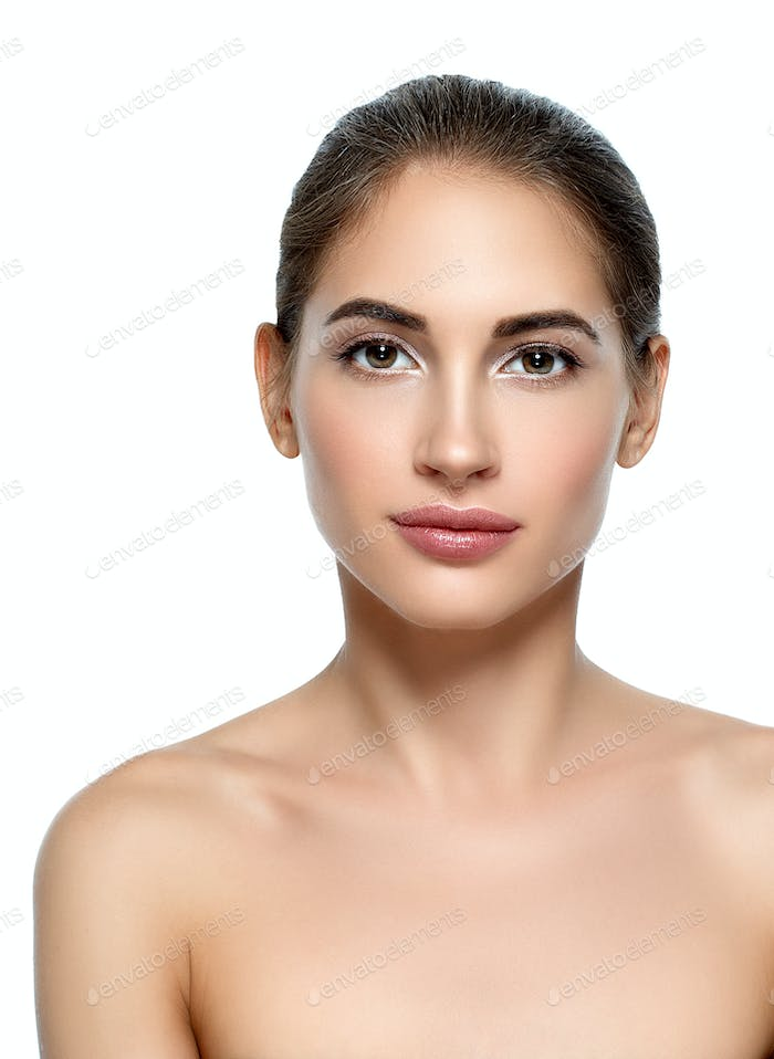 Beautiful woman withnatural make up casual daylycosmetic skin care concept