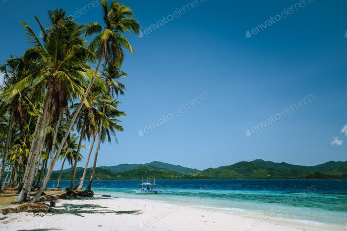 El Nido, Palawan, Philippines. Coconut palm trees on sandy beach and lonely filippino banca boat in