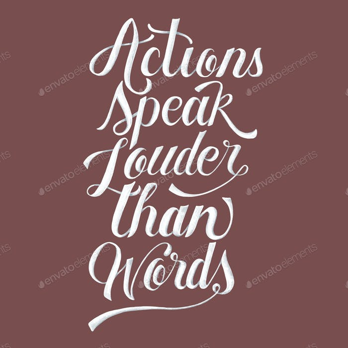 Aktionen sprechen lauter als Wörter Illustration