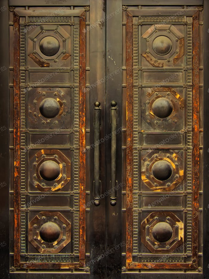 an old metal door