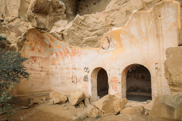 Ancient Frescoes In Walls Of Caves Of David Gareja Monastery Com