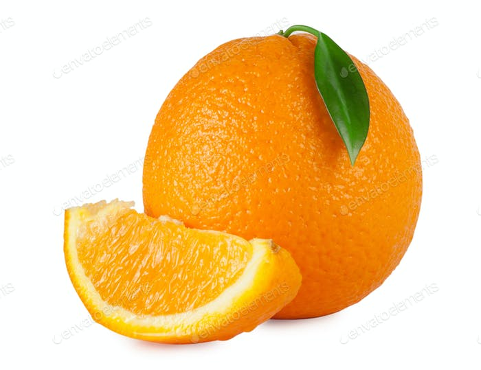 Sweet juicy orange with leaf