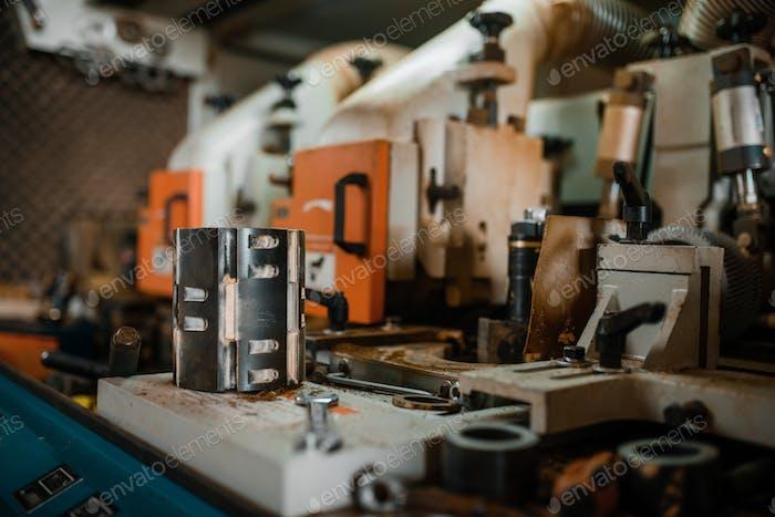 Woodworking machine closeup, wood processing