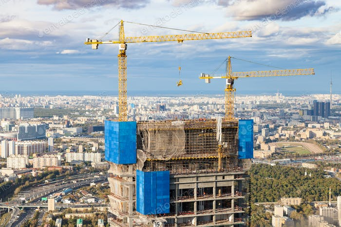 construction of high-rise building in Moscow city