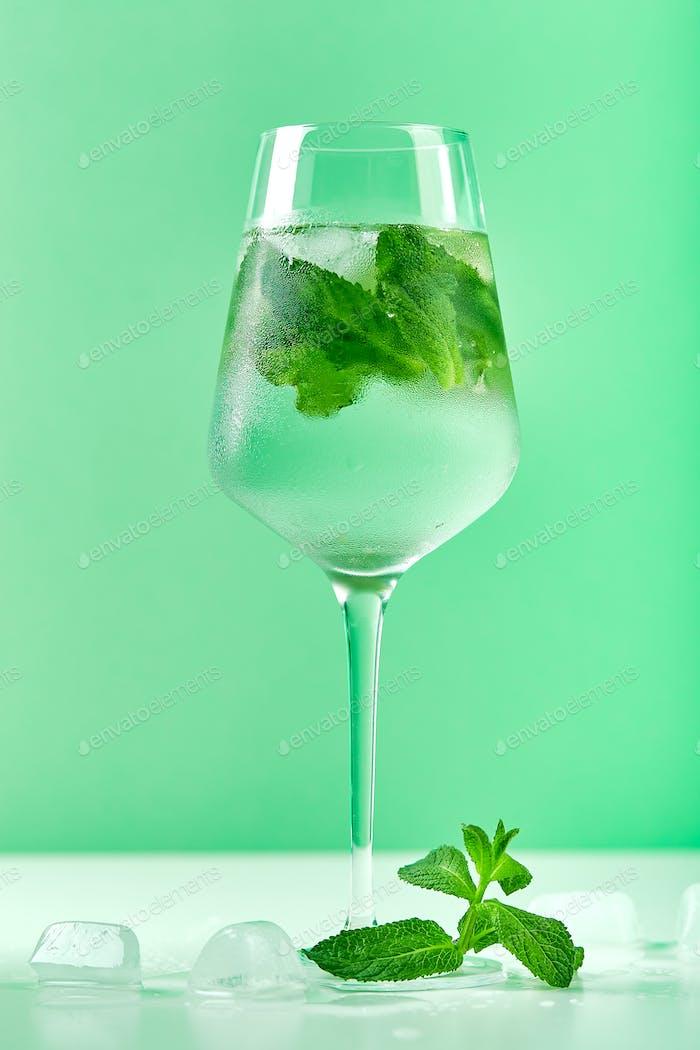 Fresh lemonade with mint in glasses