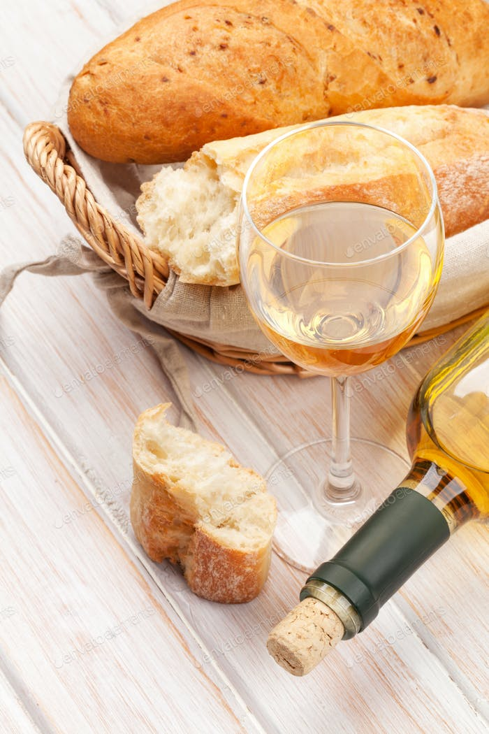 White wine and bread