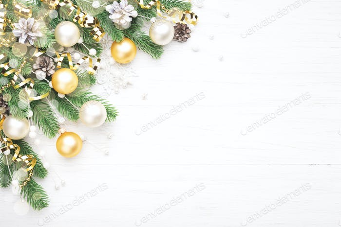 Christmas Composition with Golden and White Baubles.