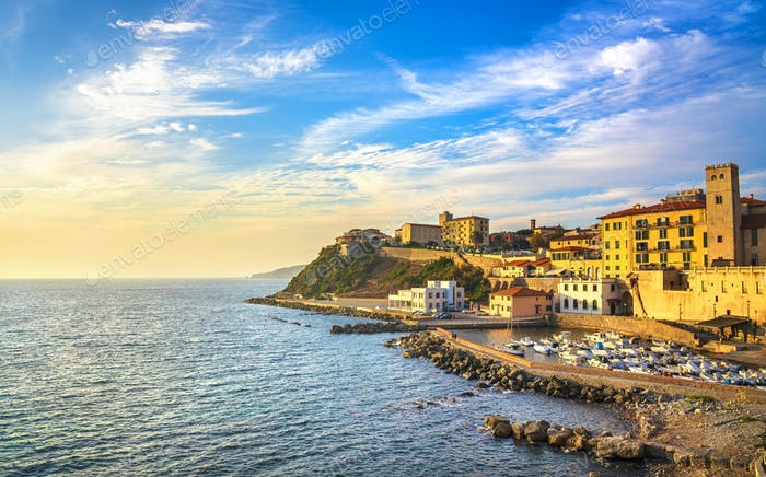 Marina of Piombino sunset view from piazza bovio.Tuscany Italy