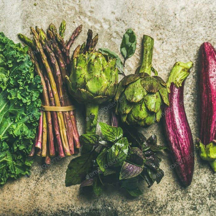 Flat-lay of fresh green and purple vegetables, square crop