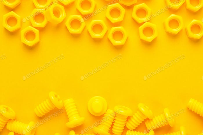 Yellow 3d Printed Bolts And Nuts