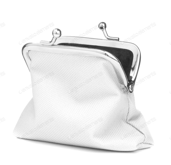 white cash wallet isolated on white background. Charge purse. Open empty coin wallet.