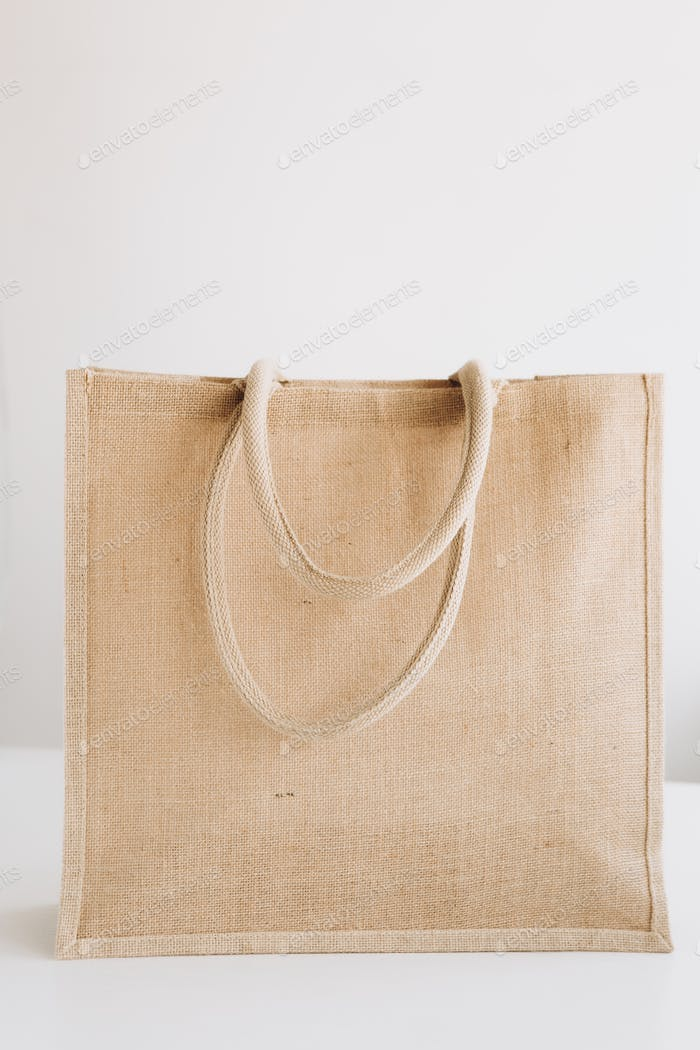 fabric bag handles isolated environment ecology shopping