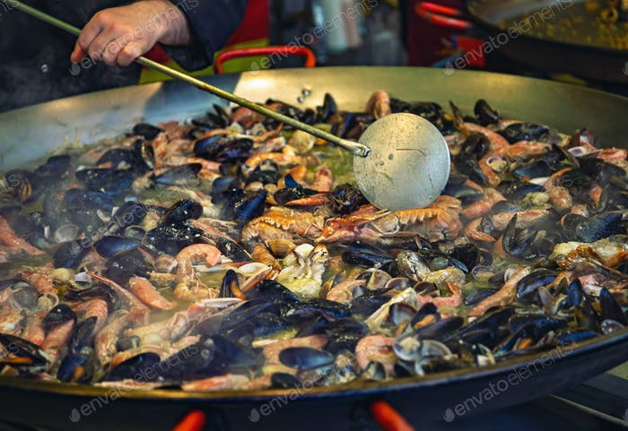 Sea food preparation in Genoa