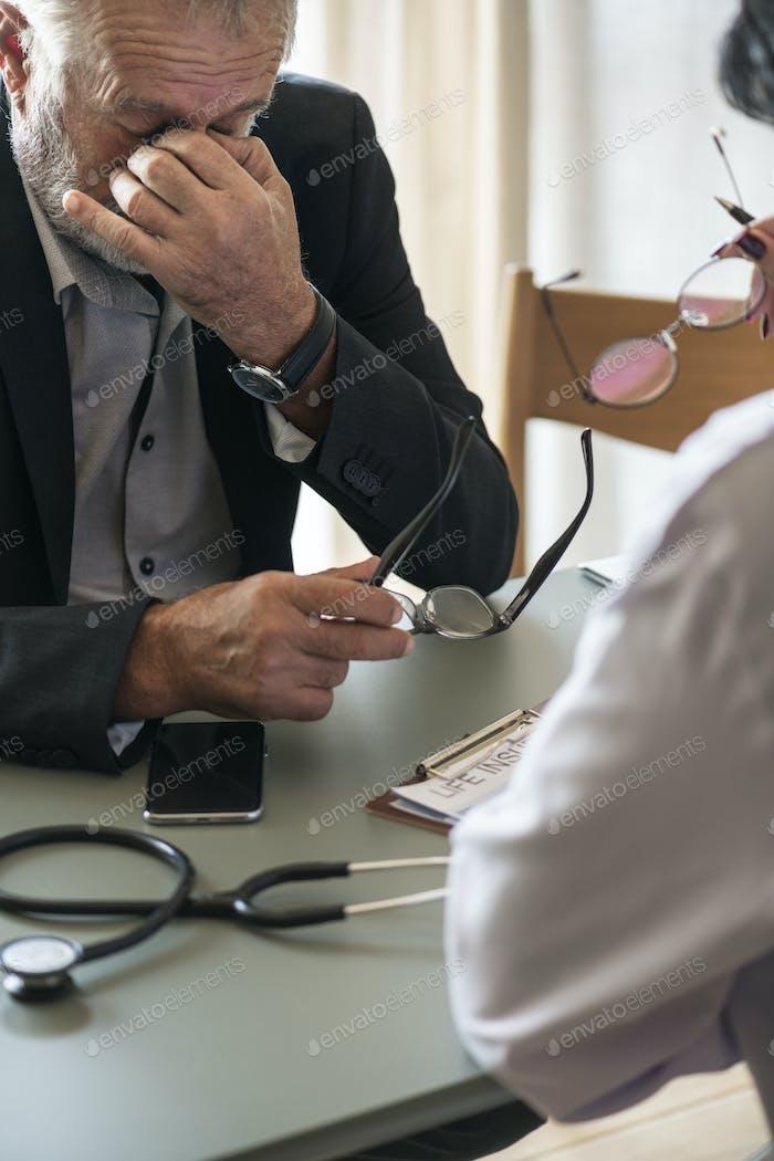 Stressed sickness elderly patient man