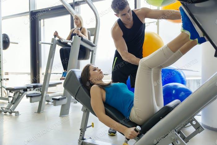 Beautiful woman doing leg exercises