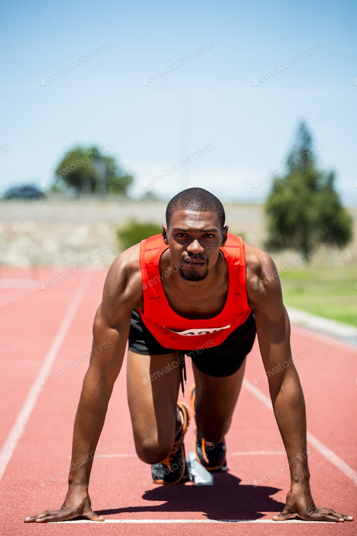 Athlet startbereit