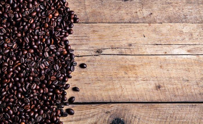 Café sobre Fondo de De madera grunge