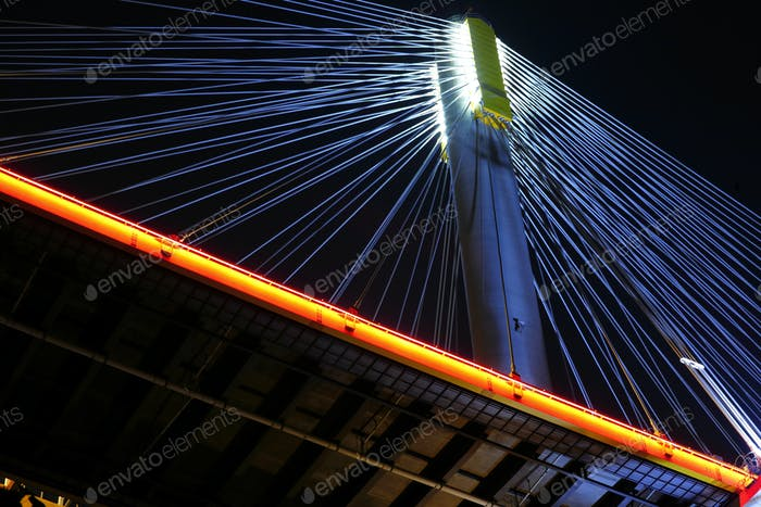bridges in Hong Kong at night, Ting Kau Bridge