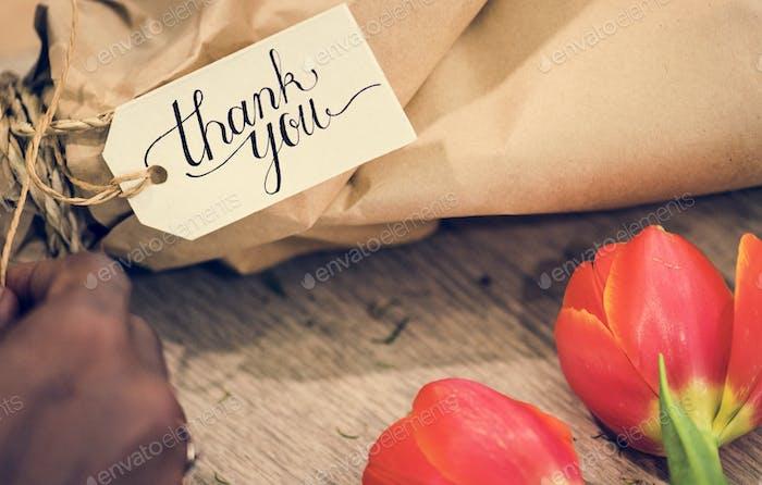 Closeup of thank you flower bouquet